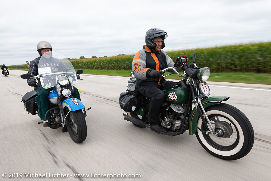 Pat Patterson (R) riding his 1946 Harley-Davidson Flathead beside his brother Marty during the Cross Country Chase motorcycle endurance run from Sault Sainte Marie, MI to Key West, FL (for vintage bikes from 1930-1948). Stage 3 from Milwaukee, WI to Urbana, IL. USA. Sunday, September 8, 2019. Photography ©2019 Michael Lichter.