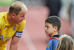 Senijad Ibricic of Domzale with his son after the football match between NK Domzale and NK Olimpija in 32nd Round of Prva liga Telekom Slovenije 2020/21, on May 5, 2021 in Sports park Domzale, Slovenia. Photo by Vid Ponikvar / Sportida