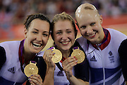 Mcc0041438 . Sunday Telegraph..ST Sport..2012 Olympics..Team GB's Danni King, Laura Trott and Joanna Rowsell who won Gold in the Women's Team Pursuit at the Olympic Velodrome...4 August 2012....