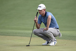 August 12, 2018 - Town And Country, Missouri, U.S - BRANDON STONE from South Africa lines up his putt on the 18th green during round four of the 100th PGA Championship on Sunday, August 12, 2018, held at Bellerive Country Club in Town and Country, MO (Photo credit Richard Ulreich / ZUMA Press) (Credit Image: © Richard Ulreich via ZUMA Wire)