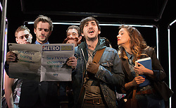 © Licensed to London News Pictures. 31/01/2013. London, England. L-R: at front Luke Kempner, George Maguire and Julie Atherton. LIFT, world premiere of a new musical by Craig Adams and Ian Watson about love, life and loss in a London lift. Cast includes: Julie Atherton, Nikki Davis-Jones, Cynthia Erivo, Jonny Fines, Luke Kempner, Ellie Kirk, George Maguire, Robbie Towns. 30 January to 24 February 2013. Photo credit: Bettina Strenske/LNP