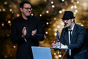 Brussels , 01/02/2020 : Les Magritte du Cinema . The Academie Andre Delvaux and the RTBF, producer and TV channel , present the 10th Ceremony of the Magritte Awards at the Square in Brussels . <br /> Pix : Olivier Masset-Depasse;Koen De Bouw , dressed by Cafe Costume<br /> Credit : Daina Le Lardic / Isopix