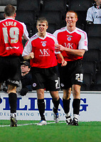 Photo: Leigh Quinnell/Sportsbeat Images.<br /> Milton Keynes Dons v Chesterfield. Coca Cola League 2. 24/11/2007. Chesterfields Jamie Ward(7) celebrates his goal with Adam Rooney.