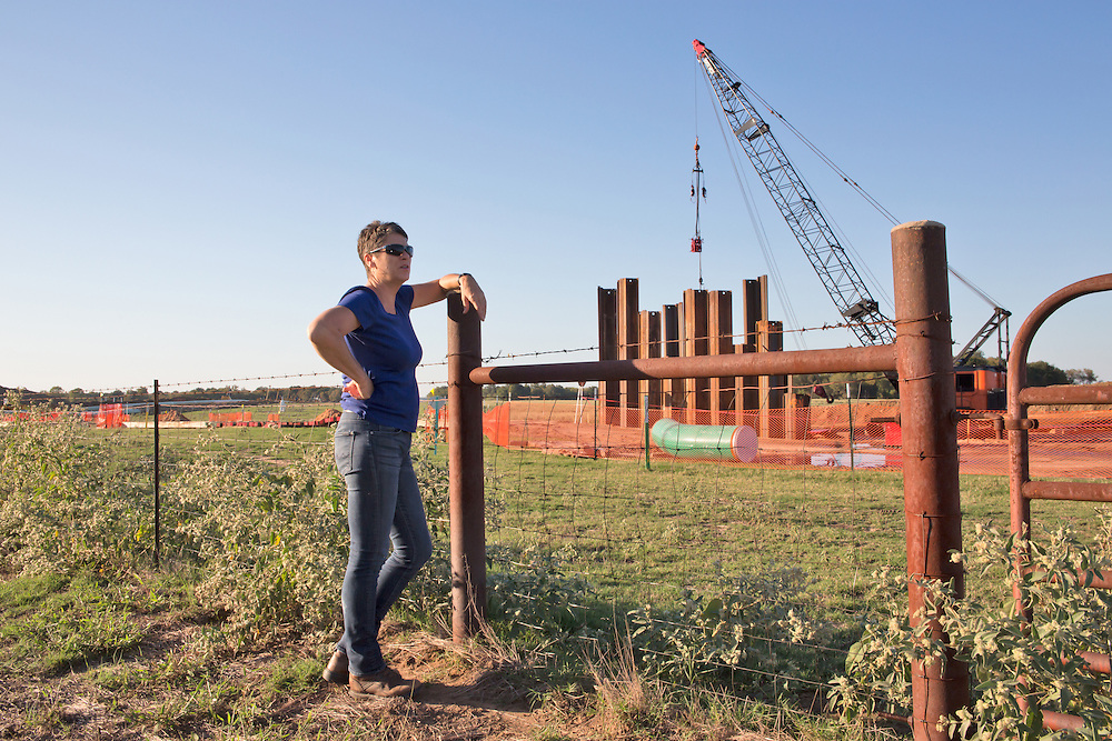 October 16th, Sumner Texas, Julia Trigg Crawford across the road from her farm looking at TransCanda's Keystone Pipelines construction site. She has been battling against TransCanada to stop them from using her land for the Keystone pipeline. She is fighting them in court for improper use of the eminant domain law.