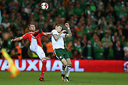 Chris Gunter of Wales (l) and James McClean of Republic of Ireland in action. Wales v Rep of Ireland , FIFA World Cup qualifier , European group D match at the Cardiff city Stadium in Cardiff , South Wales on Monday 9th October 2017. pic by Andrew Orchard, Andrew Orchard sports photography