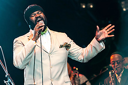 "© Licensed to London News Pictures. 03/3/2014. London, UK.   The american jazz musician Gregory Porter, who this year won a Grammy for Best Jazz Vocal Album with ""Liquid Spirit"" and is about to begin a live tour of the UK, performing in London in 2012 with Jools Holland at Somerset House.  FILE PICTURE DATED 22/7/12.   Photo credit : Richard Isaac/LNP"