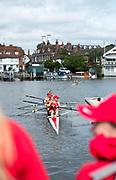 Henley-on-Thames. United Kingdom. Women's Four, Ohio State University Boating. 2017 Henley Royal Regatta, Henley Reach, River Thames. <br /> <br /> <br /> 09:52:54  Friday  30/06/2017   <br /> <br /> [Mandatory Credit. Peter SPURRIER/Intersport Images.