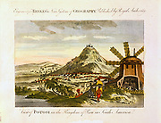 Mount Potosi (Bolivia) where rich deposits of silver discovered 1545 and exploited by the Spanish conquistadors. Right is wind-powered stamping mill for processing ore. Engraving circa 1820.
