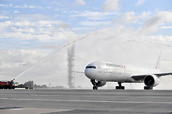 PARIS, Sept. 15, 2017  The plane of the delegation is welcomed by ''water gate'' at the Paris Charles de Gaulle Airport in Paris, France on Sept. 15, 2017. The delegation of the Paris 2024 returned to Paris on Friday. The International Olympic Committee (IOC) voted Wednesday in Lima for French capital Paris to host the 2024 Summer Olympic Games and Los Angeles of the United States the 2028 Games.   wll) (Credit Image: © Chen Yichen/Xinhua via ZUMA Wire)