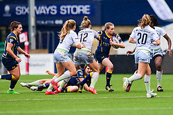 Holly Malins of Worcester Valkyries is tackled by Nina Vistisen of Saracens Ladies  - Mandatory by-line: Craig Thomas/JMP - 30/09/2017 - RUGBY - Sixways Stadium - Worcester, England - Worcester Valkyries v Saracens Women - Tyrrells Premier 15s