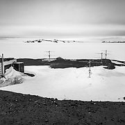 Antarctic Meteor Radar array located between McMurdo Station and Scott Base, Antarctica. The radar senses meteors over a 250 kilometer radius from the array, with an average height of about 90 kilometers, and counts about 2000 meteors per day.