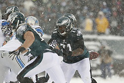 Philadelphia Eagles tackle Jason Peters #71 prepares to block during the NFL game between the Detroit Lions and the Philadelphia Eagles on Sunday, December 8th 2013 in Philadelphia. The Eagles won 34-20. (Photo by Brian Garfinkel)