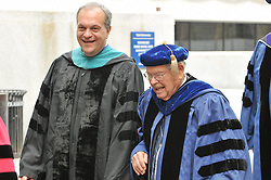 Yale University Commencement 2009 | Congregation and Activities on Cross Campus before the Ceremony | Mayor of New Haven John DeStefano & past acting President of Yale Howard Lamar on right.