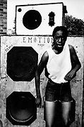 Emotion. Girl dancing in front of speaker. Sound System Photo by Richard Saunders 1983