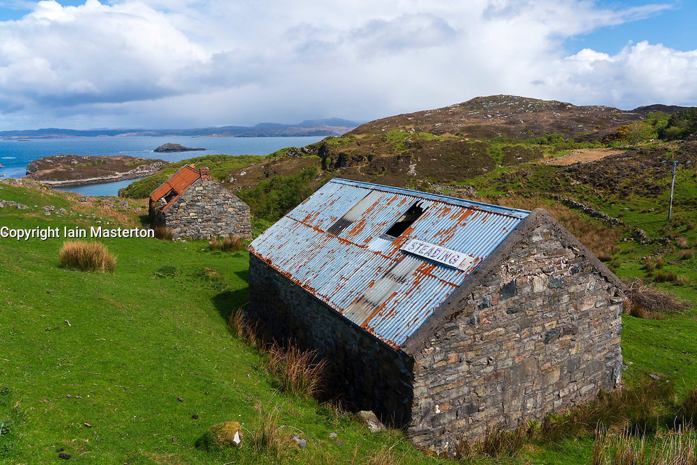 Old crofts at Drumbeg in Sutherland on the North Coast 500 scenic driving route in northern Scotland, UK