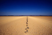 Stones marking the Danakil desert road in Djibouti