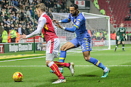 Kyle Bartley (Leeds United) chases Danny Ward (Rotherham United) to stop him getting a cross into the box during the EFL Sky Bet Championship match between Rotherham United and Leeds United at the New York Stadium, Rotherham, England on 26 November 2016. Photo by Mark P Doherty.