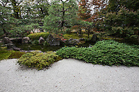 Shoden Eigen-in is a sub-temple of Kennin-ji.  At the time of foundation, Shoden Eigen-in was two separate main temples: Shoden-in and Eigen-an.  Shoden-in Temple was established in 1264 by the Zen priest, Gio Shonin.  The temple was restored in the fifteenth century by Oda Urakusai, a student of the tea master, Sen-no-Rikyu. Oda Urakusai practiced tea ceremony at the temple and for that purpose built a detached teahouse named Jo-an.  Eigen-an Temple was established in 1346 by the Zen priest, Mugai Ninko. This temple also was patronized by Japan's military leaders. The two temples were merged into one by the statesman Hosokawa Moritatsu. The temple formed from the merger was named Shoden Eigen-in.  Shoden Eigen-in is famous for the artistry of the temple's partition paintings, for Jo-an teahouse, and for its beautiful garden.  The garden is only open on special occasions, usually during April and November for sakura and momiji viewing.