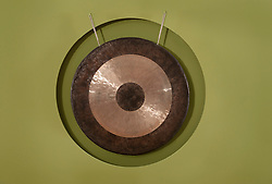 Close up gong hanging wall fitness studio