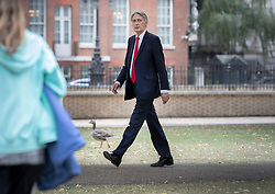 © Licensed to London News Pictures. 11/09/2019. London, UK. Former chancellor Philip Hammond walks in St James's Park near Downing Street. Scottish judges have ruled that Mr Johnson's prorogation of Parliament was illegal. Photo credit: Peter Macdiarmid/LNP
