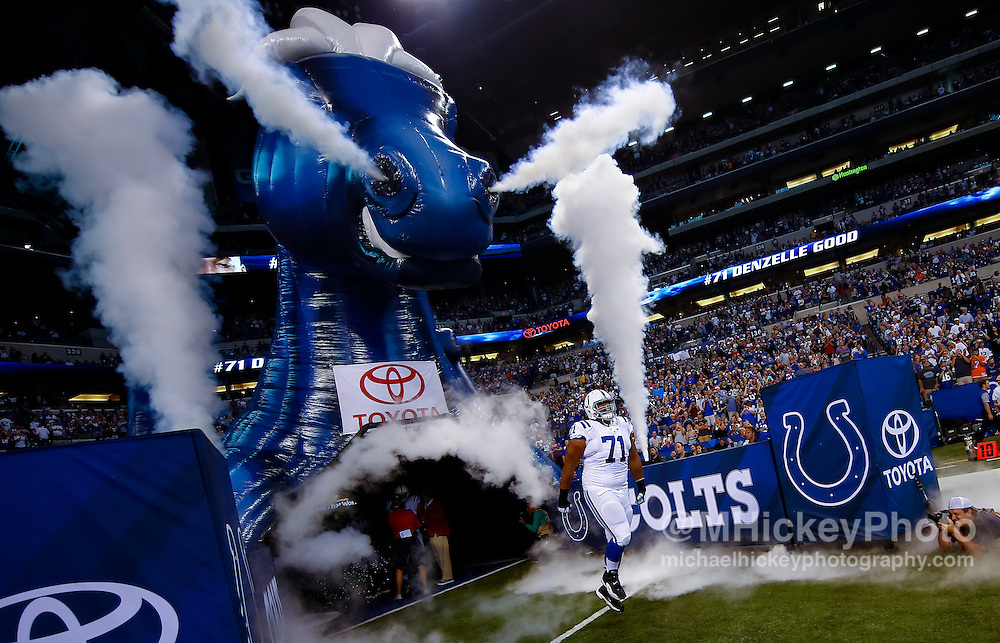 INDIANAPOLIS, IN - AUGUST 20: Denzelle Good #71 of the Indianapolis Colts takes the field during player intros before the game against the Baltimore Ravens at Lucas Oil Stadium on August 20, 2016 in Indianapolis, Indiana.  (Photo by Michael Hickey/Getty Images) *** Local Caption *** Denzelle Good