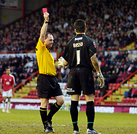Photo: Leigh Quinnell.<br /> Bristol City v Huddersfield Town. Coca Cola League 1. 10/02/2007. Bristol City goalkeeper Adriano Basso is sent off by referee P.Armstrong for handling the ball outside the area.