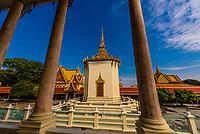Views from the Temple of the Emerald Buddha, Silver Pagoda,Royal Palace, Phnom Penh, Cambodia.
