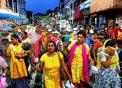 April 30, 2019 - Kolkata, WEST BENGAL, India - Sex Workers and their children seen walking with torches during the rally..Sex Workers of Sonagachi Kolkata, the Largest Red light area of south East Asia took part in a Torch rally with a demand of dignity, Labor Right & Social Protection on the eve of International Labor Day. (Credit Image: © Avishek Das/SOPA Images via ZUMA Wire)