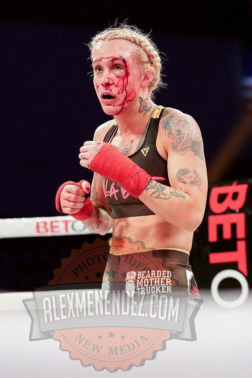 TAMPA, FL - FEBRUARY 05: Taylor Starling bleeds during her fight against Charisa Sigala during the BKFC KnuckleMania event at RP Funding Center on February 5, 2021 in Tampa, Florida. (Photo by Alex Menendez/Getty Images) *** Local Caption *** Charisa Sigala; Taylor Starling