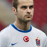 Trabzonspor's Piotr BROZEK during their Turkish superleague soccer derby match Galatasaray between Trabzonspor at the TT Arena in Istanbul Turkey on Sunday, 10 April 2011. Photo by TURKPIX