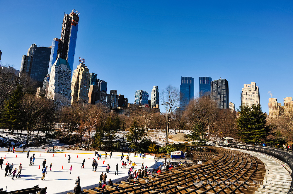 US, New York City, Central Park. Ice skating at the Trump Rink.