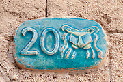 Israel, Jaffa, Ceramic numbers zodiac signs the number Twenty