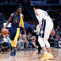 03 April 2018: Indiana Pacers guard Victor Oladipo (4) brings the ball up court during the Denver Nuggets 107-104 victory over the Indiana Pacers, at the Pepsi Center, Denver, Colorado, USA.