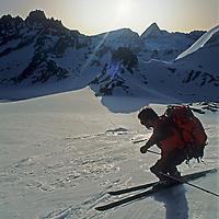 Jay Jensen descends a wilderness slope on the classic Haute Route ski tour through the Alps between Chamonix, France and Zermatt, Switzerland.