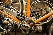 DETROIT, MI - OCTOBER, 30: Bicycles are assembled at the Shinola store in Detroit, Michigan, Thursday, October 30, 2014. (Photo by Jeffrey Sauger)