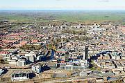Nederland, Friesland, Leeuwarden, 28-02-2016; overzicht van het centrum van Leeuwarden met onder andere het NS station en de Achmeatoren.<br /> City centre Leeuwarden.<br /> <br /> luchtfoto (toeslag op standard tarieven);<br /> aerial photo (additional fee required);<br /> copyright foto/photo Siebe Swart