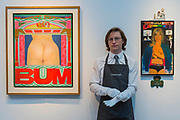 Pauline Boty, BUM, 1966, estimate: £200,000-300,000 and Sir Peter Blake, Little Lady Luck, 1965, estimate: £600,000-800,000 - Christie's preview exhibition of works from its upcoming Modern British & Irish Art Evening Sale, on view to the public from 18-22 November 2017. The auction will take place on 22 November 2017 at Christie's King Street.