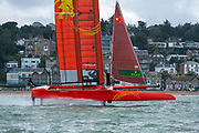 SailGP Team China  practising on the Solent. Event 4 Season 1 SailGP event in Cowes, Isle of Wight, England, United Kingdom. 6 August 2019: Photo Chris Cameron for SailGP. Handout image supplied by SailGP
