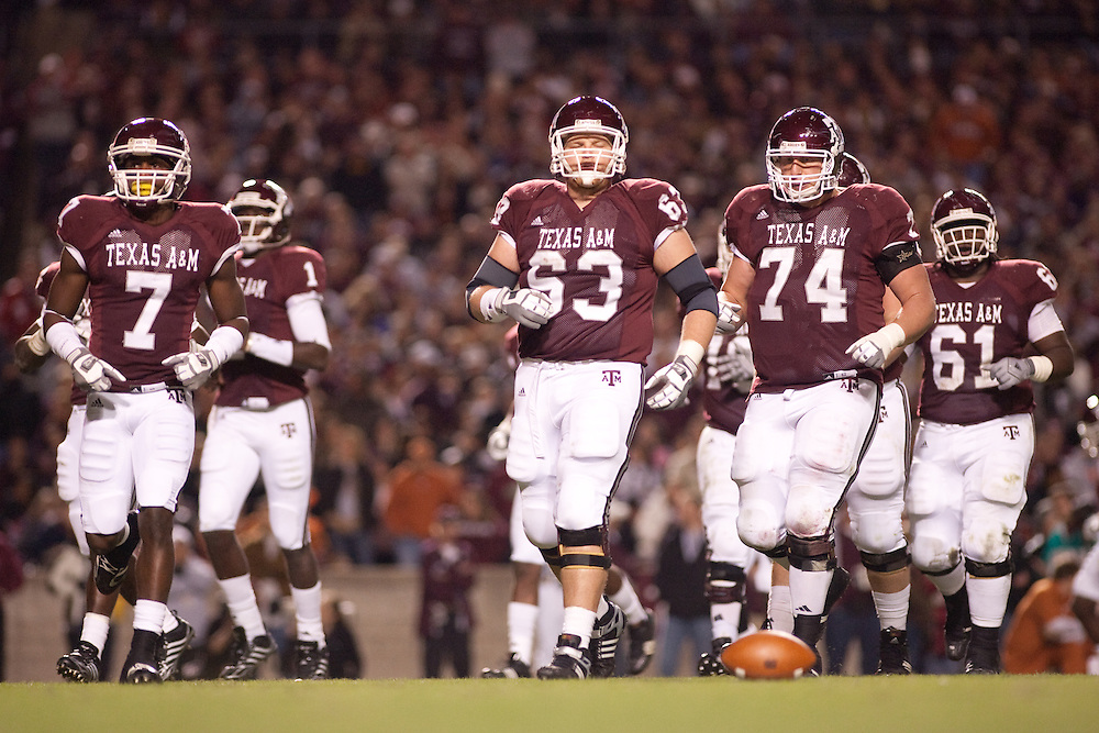 Texas A&M offensive line.Texas Longhorns at Texas A&M Aggies. Photographed at Kyle Field in College Station, Texas on Thursday, November 26 2009. Photograph © 2009 Darren Carroll
