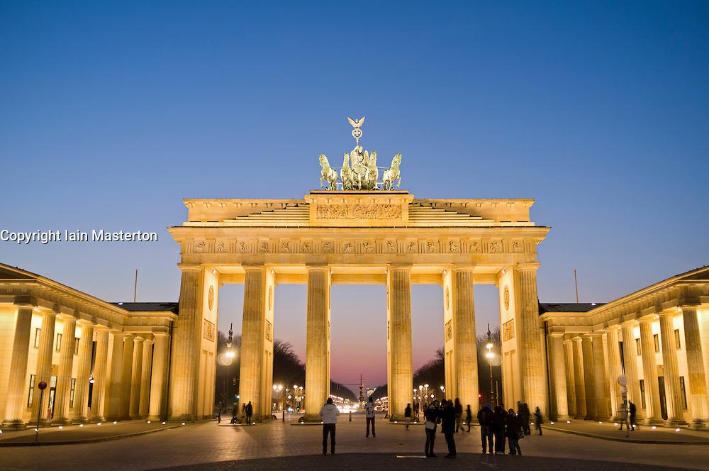 View of Brandenburg Gate at night in Berlin Germany