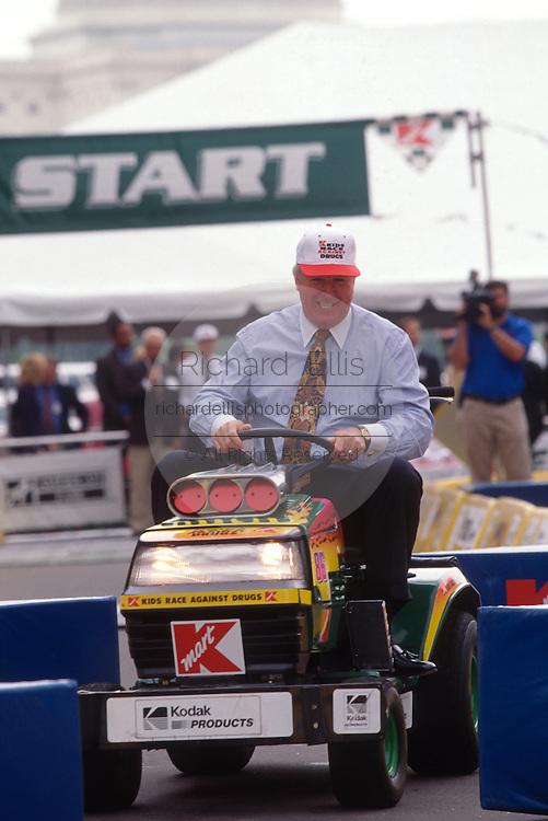 "WASHINGTON, DC - September 11: K-Mart's CEO Floyd Hall  participates in K-Mart's ""Race Against Drugs"" in Washington, DC. September 11, 1997  (Photo RIchard Ellis)"