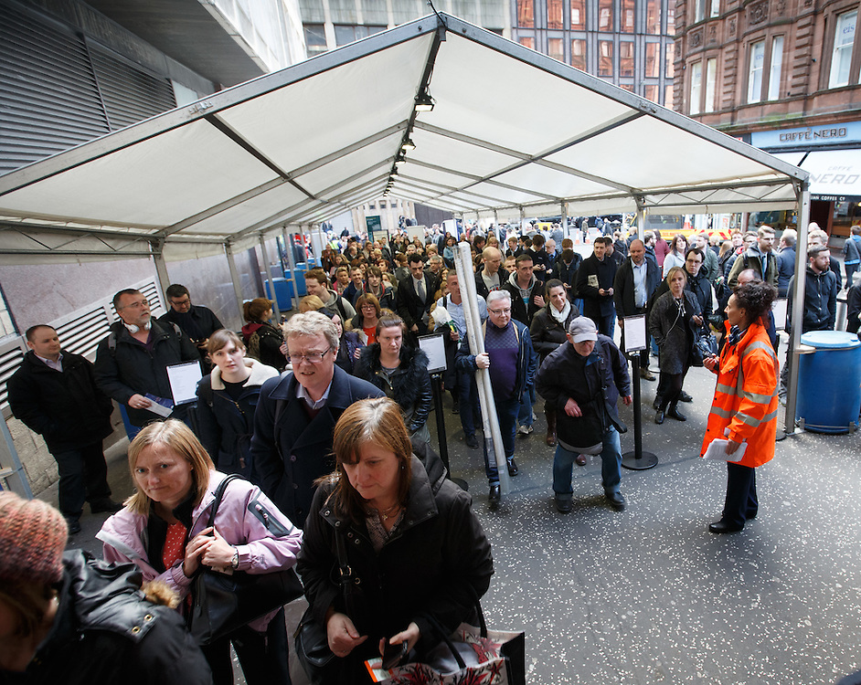 Queues at Queen Street station, Glasgow.  Picture Robert Perry 19th March 2016<br /> <br /> Must credit photo to Robert Perry<br /> <br /> FEE PAYABLE FOR REPRO USE<br /> FEE PAYABLE FOR ALL INTERNET USE<br /> www.robertperry.co.uk<br /> NB -This image is not to be distributed without the prior consent of the copyright holder.<br /> in using this image you agree to abide by terms and conditions as stated in this caption.<br /> All monies payable to Robert Perry<br /> <br /> (PLEASE DO NOT REMOVE THIS CAPTION)<br /> This image is intended for Editorial use (e.g. news). Any commercial or promotional use requires additional clearance. <br /> Copyright 2016 All rights protected.<br /> first use only<br /> contact details<br /> Robert Perry     <br /> 07702 631 477<br /> robertperryphotos@gmail.com<br />         <br /> Robert Perry reserves the right to pursue unauthorised use of this image . If you violate my intellectual property you may be liable for  damages, loss of income, and profits you derive from the use of this image.