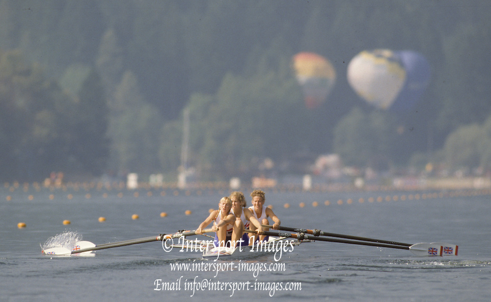 Bled, Slovenia, YUGOSLAVIA. GBR LW4-. Bow Sue KEY, Rachel HIRST, Joanna TOCH and Katharine BROWNLOW. 1989 World Rowing Championships, Lake Bled. [Mandatory Credit. Peter Spurrier/Intersport Images]
