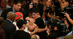 6-9-18. Los Angeles, CA. (R-L ) Leo Santa Cruze embraces Abner Mares after going 12 rounds with Abner Mares at Staples Center Saturday. Leo Santa Cruze  took the win by  unanimous decision over Abner Mares for the WBA featherweight title and WBC diamond tile on showtime. Photo by Gene Blevins/LA DailyNews/SCNG/ZumaPress (Credit Image: © Gene Blevins via ZUMA Wire)