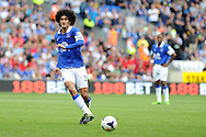 Everton's Marouane Fellaini in action.  Barclays Premier league, Cardiff city v Everton at the Cardiff city Stadium in Cardiff,  South Wales on Saturday 31st August 2013. pic by Andrew Orchard,  Andrew Orchard sports photography,