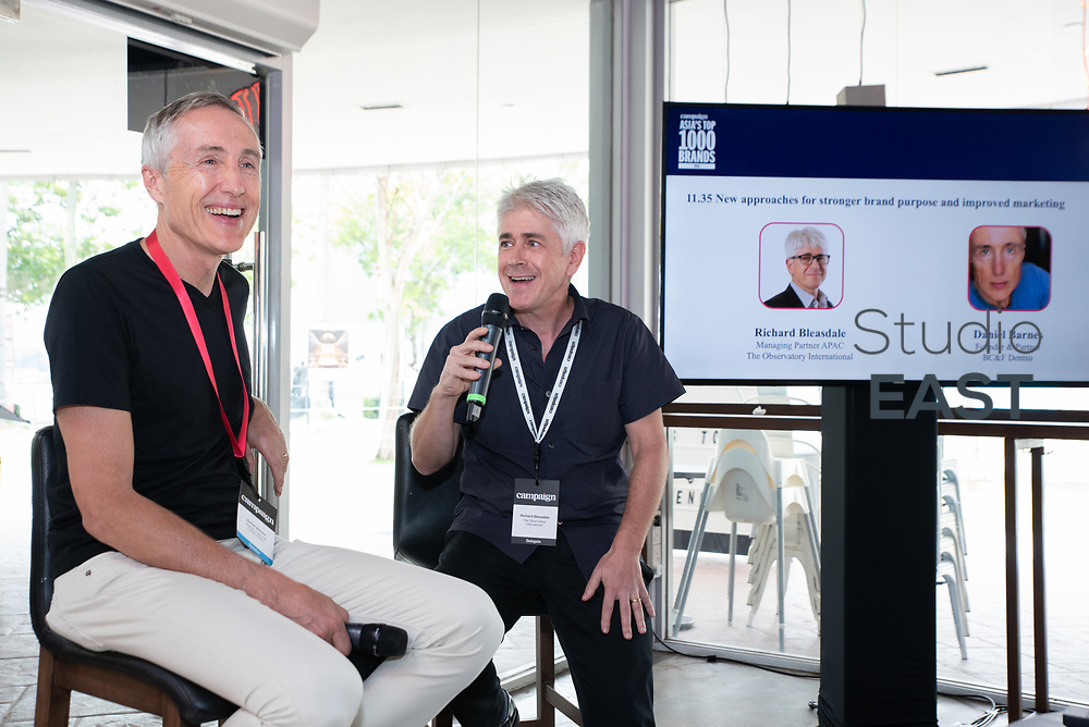 New approaches for stronger brand purpose and improved marketing, by Richard Bleasdale, Managing Partner APAC, The Observatory International, and Daniel Barnes, Founder & Partner, BC&F Dentsu, during Asia's Top 1000 Brands in Esplanade, Singapore, Singapore, on 6 September 2018. Photo by Steven Lui/Studio EAST
