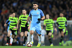 1st March 2017 - FA Cup - 5th Round (Replay) - Manchester City v Huddersfield Town - Sergio Aguero of Man City is chased by a host of Huddersfield players - Photo: Simon Stacpoole / Offside.