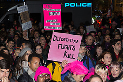 London, UK. 11th December, 2018. Protesters gather outside the Home Office to protest against the conviction using an anti-terrorism offence under the Aviation and Maritime Security Act 1990 of the Stansted 15 following non-violent direct action to try to prevent a Home Office deportation flight taking off from Stansted airport in March 2017. The judge directed the jury to disregard evidence put forward in their defence that their acts were intended to stop human rights abuses.