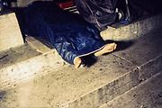 Homeless persons sleep close the Bernini Arcade at the Vatican. Roma 25 july 2017. Christian Mantuano / OneShot