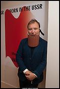 TONY CHAMBERS WEARING WOODEN BEARD- , Born in the USSR, Design exhibition opening. Gallery Elena Shchukina, Beauchamp Place, Knightsbridge. London. 15 September 2014.